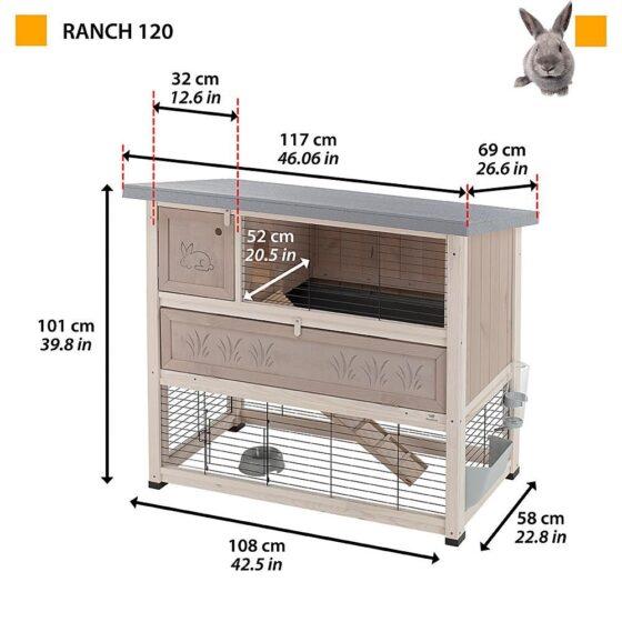 Utebur ranch kanin og marsvin med utegård nede